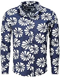 Carisma Homme Mince Fit Section Manches longues Chemise FORTALENZA Fleur Imprimer Sommerhemd Hawaiihemd
