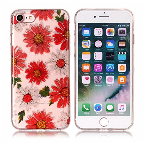 Ecoway iPhone 7/7G (4,7 zoll) Case Cover, TPU Clear Soft Silicone Housse en silicone Housse de protection Housse pour téléphone portable pour iPhone 7/7G (4,7 zoll) - campanule marguerite