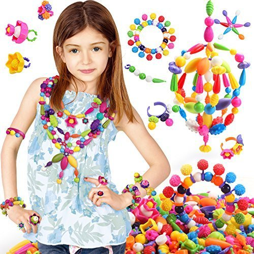 SLYTEK Jewellery Making DIY Kid Pop String Beads Toy Fashion Girls Accessories Toy Set of 183 Pcs  available at amazon for Rs.599