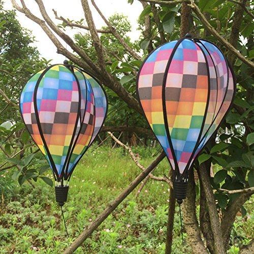 mimgo Store Grid Windsack Colorful Hot Air Balloon Wind Spinner Garden Yard Outdoor Decor