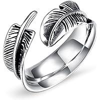 Gioielli da uomo in acciaio al titanio, anelli di apertura in acciaio al titanio a forma di piuma, gioielli da dito