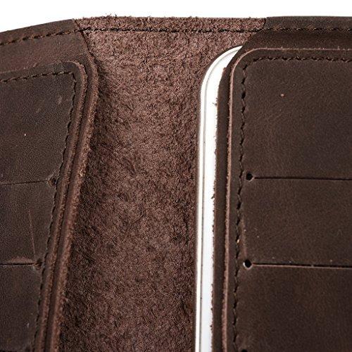Housse étui portefeuille en cuir véritable pour Motorola Moto G Dual SIM peau marron