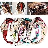iLoveCos Mujeres Elástico Flor Banda De Cabello Impresa Flor de Primavera 4 Piezas moda de las mujeres pelo de la venda de la venda del turbante