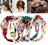iLoveCos Women Stretchy Printed Head Wrap Floral Style Crossover Elastic Vintage Flower Headbands, Boho Twisted Knotted Hairband Girl Hair Band Turban Yoga Sport Daily Wear, 4 Pieces