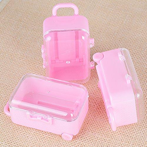 Deomor 12pz scatole plastica portaconfetti bomboniere scatoline fai da te per matrimonio battesimo comunione compleanno mini valigia rosa