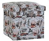 Faltbarer Sitzhocker Sitzcube Mit Stauraum Fußablage ,Belastbar PVC Leder Aufbewahrungsbox, Gespeichert Spielzeug Kleidung Bücher Maximale Belastung 100Kg 30*30*30Cm,B