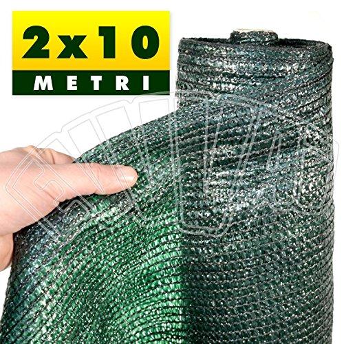 2x10 mt - rete ombreggiante verde copertura 90% / telo ombra