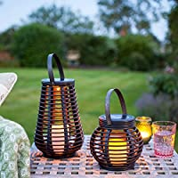 Lights4fun Set of 2 Rattan Solar Powered LED Outdoor Garden Lanterns 24