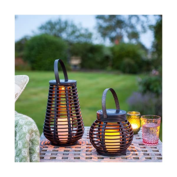 Lights4fun Set of 2 Rattan Solar Powered LED Outdoor Garden Lanterns 1