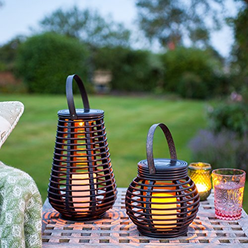 2er Set LED Solar Laterne Rattan Windlicht Lights4fun -
