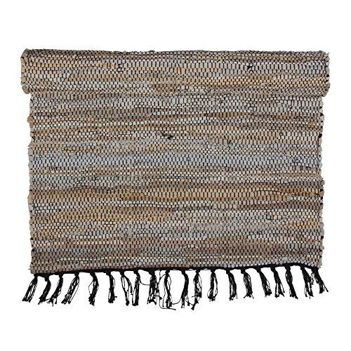 Eightmood Kissen aus Dupionseide: Malene Leder Gewebt Bereich Überwurf Teppich, rechteckig Teppich mit Fransen Oder Rund Bereich Teppich Medium - 28 x 78.5 Hellbraun