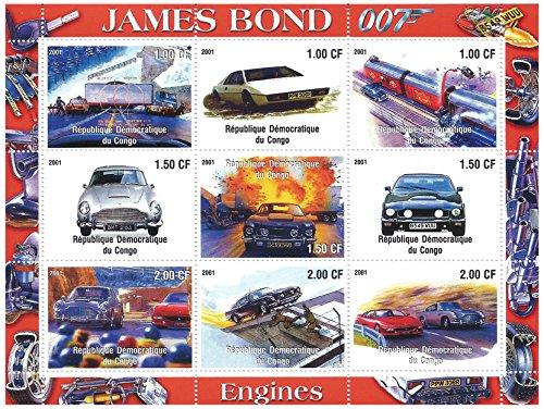 Die Autos von James Bond 007 Minze Briefmarkenbogen mit 9 Briefmarken für Sammler / Neuwertig / 2001 / Kongo