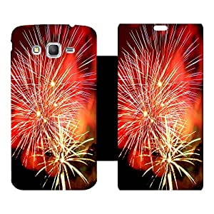 Skintice Premium Flip Cover with a Designer hi-res printed Vinyl Wrap-around forSamsung Galaxy Grand Prime, Design - Colorful Fireworks