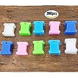 dikete® 200PCS plástico bordado Craft hilo bobinas para punto de cruz costura Costura Suministros Organizador Soporte de almacenamiento, 1.6* 1.4cm