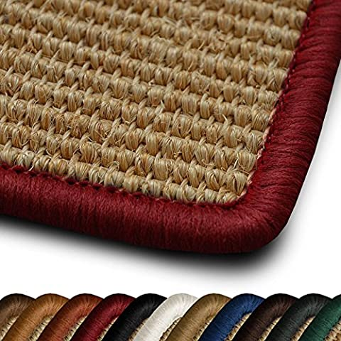 Sisal Läufer / Teppich myStyle | Kettelung in Wunschfarbe | Naturfaser | viele Größen zur Auswahl (Kettelung Rot, 80x250 cm)