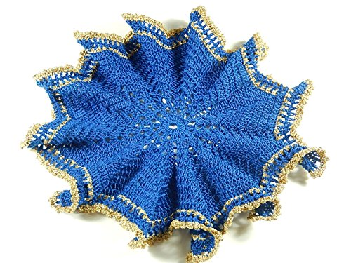 Blaues Häkeldeckchen mit Rüschen gehäkeltes Deckchen Tischdeko Tischschmuck -