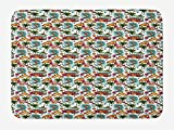 NasNew Doormats Surf Bath Mat, Sixties Style Van Surfboards and Palm Trees Pattern...