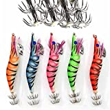 Shaddock Fishing Fishing Artificial Squid Jigs Octopus Cuttlefish Shrimp Lures Squid Jig Wrapped Wooden Shrimp Lure Jig Hook Hard Assorted Colors Fishing Lure Kit (3.0#-12cm/5pcs)