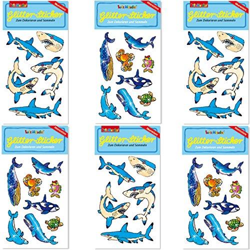 6-teiliges Sticker-Set * HAIE & MEERESTIERE * vom Mauder Verlag | Fische Wale Delfine Schildköten Kinder Aufkleber Kindergeburtstag Geburtstag Mitgebsel Geschenk