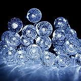 Hogar Jardin Best Deals - Cadena de Luces Solar Luminosa Exterior 30 LED de Bolas de Cristal para Fiesta Navidad Hogar o Exterior Jardín Árbol Camino de Multicolor Decoración Iluminación Luces (Blanco)