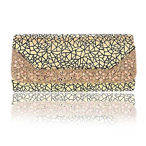Damara® Große Damen Magnet Bling Strass Clutch Umhängetaschen Gold