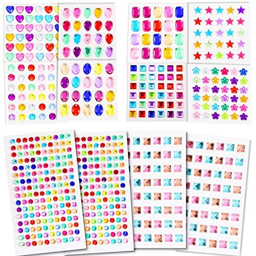 24 Blätter 1290 Stücke Strass Aufkleber Selbstklebende Juwelen Aufkleber Strass Kristall Edelstein Aufkleber für Kunst Diy Dekorationen (12) (Sie Blättern Bilderrahmen)