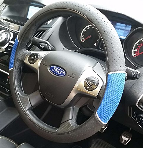 XtremeAuto® XAUH99D Blue / Black Steering Wheel Cover