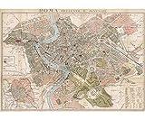 Cavallini Dekopapier - Strassenkarte Rom - 51 cm x 71 cm