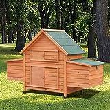 Hühnerstall Geflügel-Stall Hühnerhaus Hühner-Farm Hühner-Stall 162x56x107cm 2 Brutboxen verzinkter Metallboden
