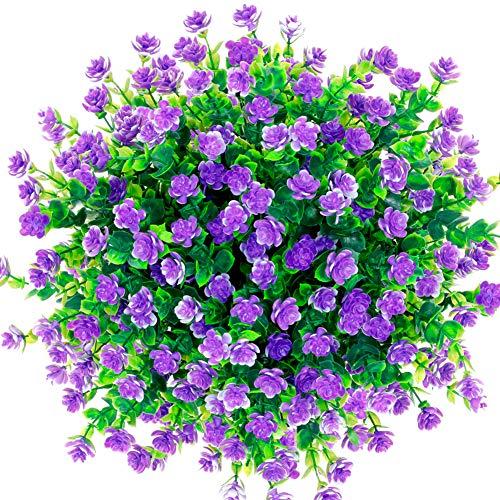 CQURE künstliche Blumen,Unechte Blumen Künstliche Grün UV-beständige Pflanzen Eukalyptus Outdoor Braut Hochzeitsblumenstrauß für Haus Garten Party Blumenschmuck 5 Stück (Lila)