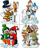 Unbekannt 1 Stück: statisch haftende XL Fensterbild -  Winter & Weihnachtsmotive  - Eulen / Eisbären / Schneemann / Pinguine - wiederverwendbar + selbstklebend / Stic..