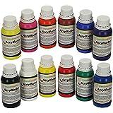 trendmarkt24 Acrylfarben Set Farbe: 12 Verschiedene Größe: je Farbe 150ml flüssige Malfarben Hobby hohe Deckkraft 15120