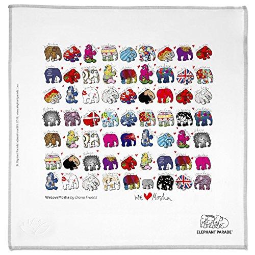 HAPPY WIPEY - Großes Microfaser Brillenputztuch (25x25cm, waschbar) + Microfaser-Pouch(10x18cm) in Profi-Qualität mit kunstvollem Elephant Parade Motiv. Zur Reinigung u. Aufbewahrung von Brillen oder Smartphones.