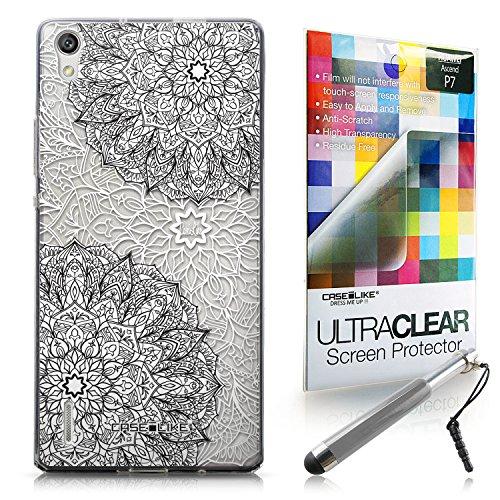 CASEiLIKE Mandala-Kunst 2093 Ultra Slim Back Hart Plastik Stoßstange Hülle Cover for Huawei Ascend P7 +Folie Displayschutzfolie +Eingabestift Touchstift (Zufällige Farbe)