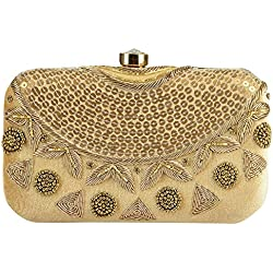 Tooba Handicraft Women's Clutch (Gold, Gold Sequence Necklace 6X4)