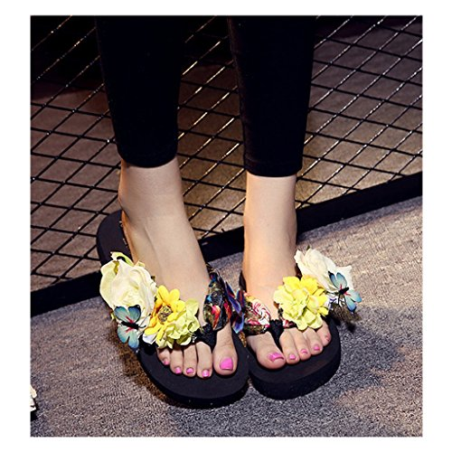 Eagsouni® Damen Mädchen Böhmen süße Blume Plateau Sandalen Pantoletten Flip Flops Keilabsatz Zehentrenner Sommer Freizeit Strandschuhe Hausschuhe #1Schwarz