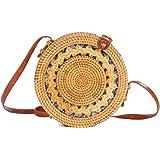 Ulisty Hohl-geschnitztes Design Rund Rattan Tasche Kreis Strohbeutel Handgefertigte Tasche Weben Korb Handgewebte Tasche Somm