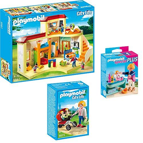 Preisvergleich Produktbild PLAYMOBIL® City Life 3-teiliges Set 5567 5573 5368 KiTa Sonnenschein + Zwillingskinderwagen + Mutter mit Baby-Wickeltisch