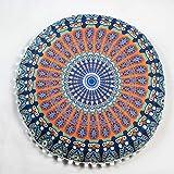 Indexp Round Pillowcase Indian Bohemian Cushions Mandala Floor Pillows Cover(17.0x17.0) (Multicolor N)