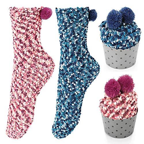Homealexa 2 Paar Damen Mädchen Socken Kuschelsocken Weiche Warme Haussocken Flauschige Wintersocken mit Geschenkbox für Frauen Weihnachtsgeschenk (EU 36-42, Rose+Blau)