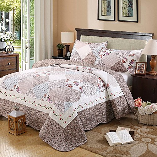 Classic Paisley 3-teilig bedruckt Polyester Patchwork Tagesdecke Quilt Sets Queen Pattern1, Polyester, Pattern8, Queen -