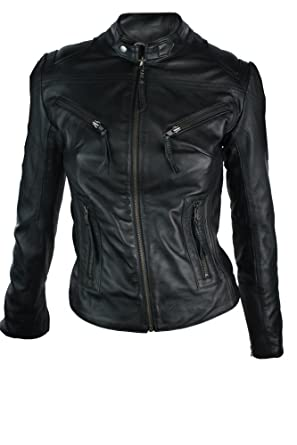 100% Ladies Real Leather Jacket Fitted Bikers Style Vintage Black ...