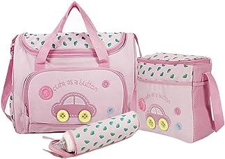 Baby Bucket Baby Diaper Nappy Changing Baby Diaper Bag/Baby Bag/Mummy Bag/Handbag (4pcs Set Light Pink)