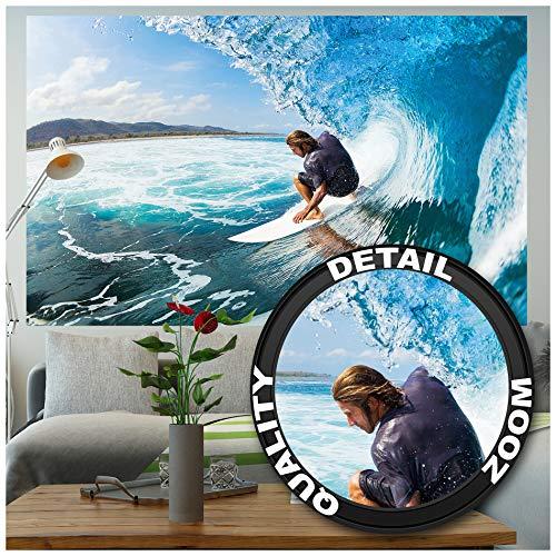 GREAT ART XXL Poster - Wellenreiter - Wandbild Dekoration Sport Meer Natur Beach Welle Surfen Ozean Surfbrett Surfboard Wassersport Wandposter Fotoposter Wanddeko Bild (140 x 100 cm)