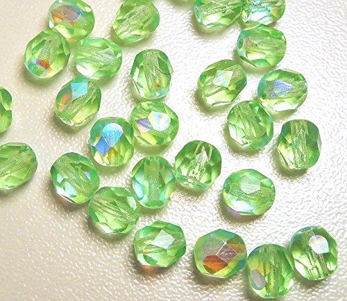 30 Preciosa Glasschliffperlen 6mm Feuerpoliert Facettiert Rund Kristall Perlen Farbauswahl (Hell Grün AB)