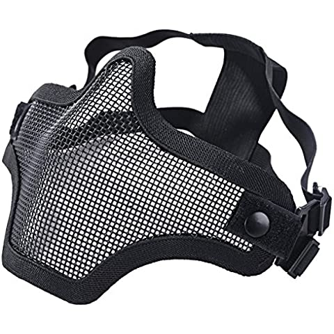 Tactical Malla de Acero media máscara de calavera Protective Gear de máscaras para Airsoft Máscara De Halloween, negro