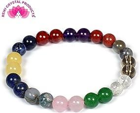 Reiki Crystal Products 12 Chakra Natural Stone Quartz Bracelet (8mm, 12-Chakra-Bracelet)