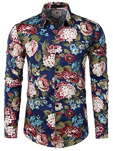 WHATLEES Urban Classic Herren Hemd Langarm Shirt Freizeit Blumenhemd Party Regular fit Hemd für Männer BA0203-04-XL