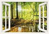 Artland Qualitätsbilder I Bild auf Leinwand Leinwandbilder Wandbilder 100 x 70 cm Landschaften Wald Foto Braun C3JH Fensterblick Wald mit Bach