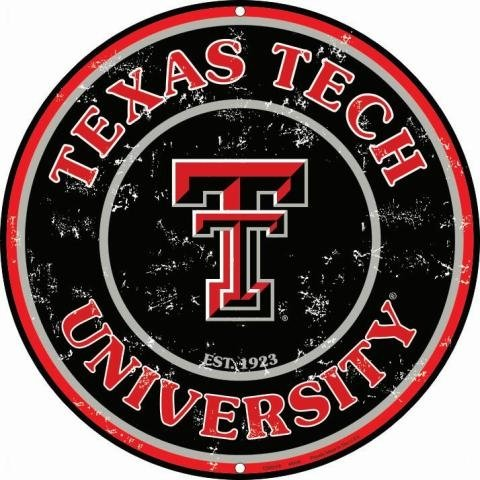 Dixie University of Texas Tech (Retro) Collegiate geprägt Metall Circular Schild cs60105 -